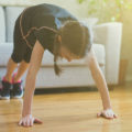 Child exercising at home