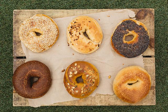 Selection of bagels at Brooklyn Bagel Boys