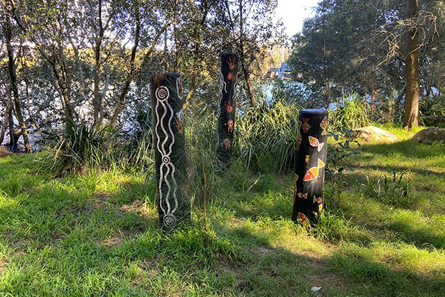 A sculpture on the banks of Cook's River in Tempe